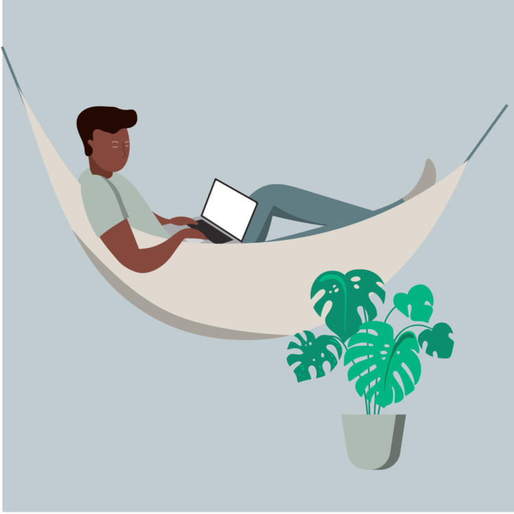 Drawing of young man on hammock using laptop