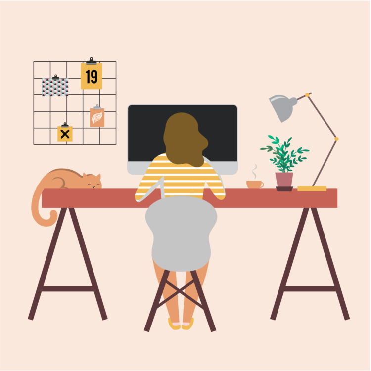 Drawing of woman by the desk using computer