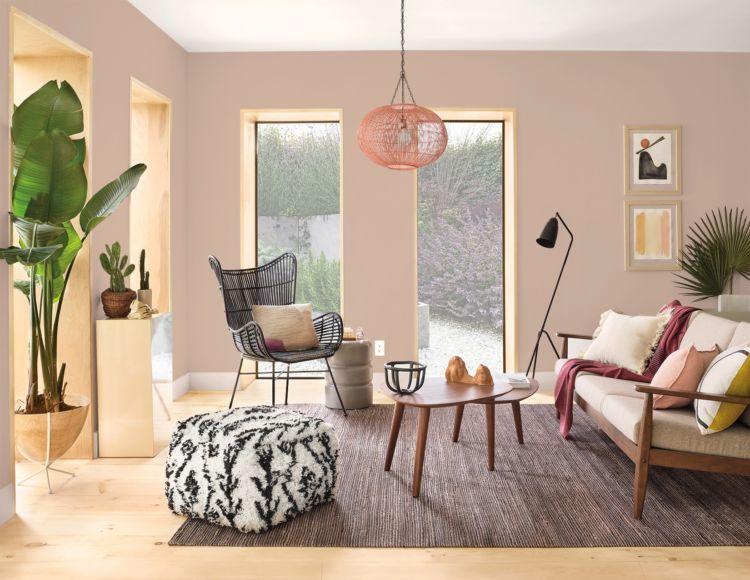 Living Room with patellae sandy pink walls