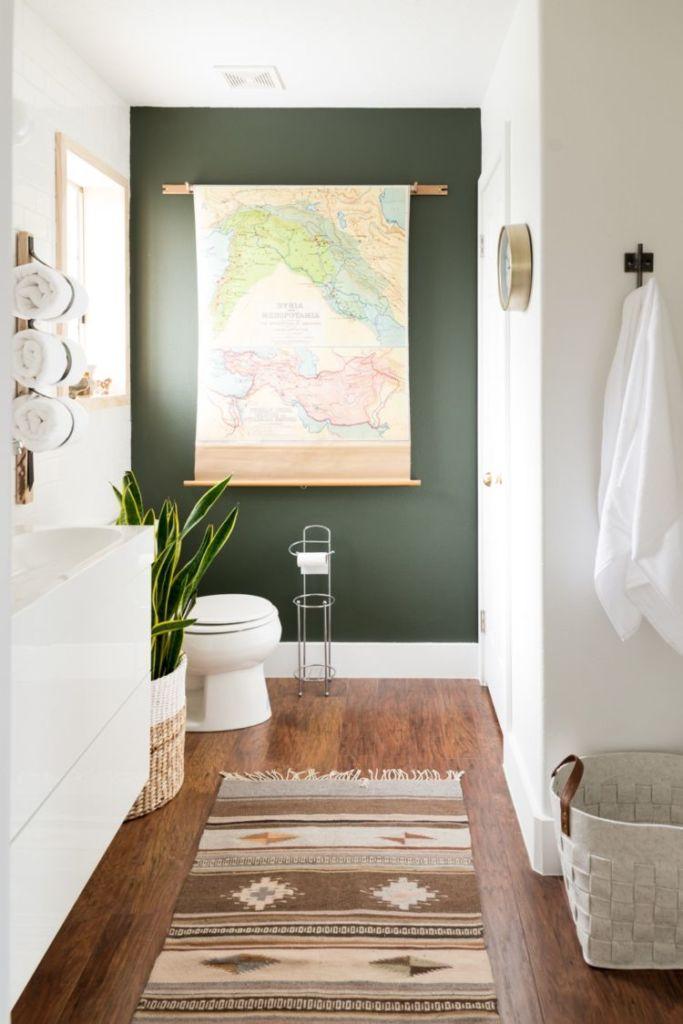 bathroom, olive green wall