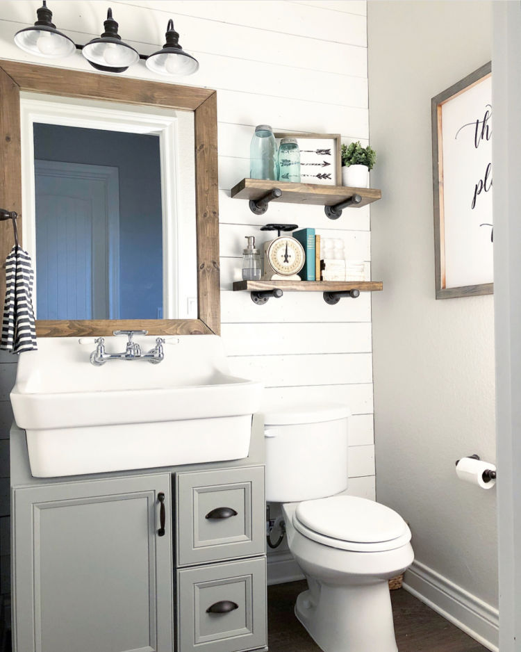 bathroom, sink and toilet and mirror, white wooden walls