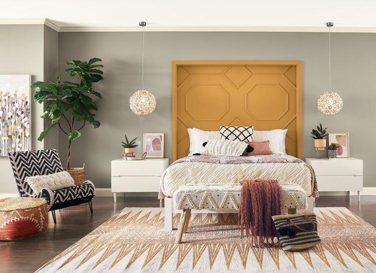 bedroom, orange headboard, fawn brindle walls