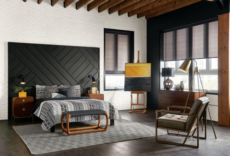 bedroom, black headboard, white brick walls