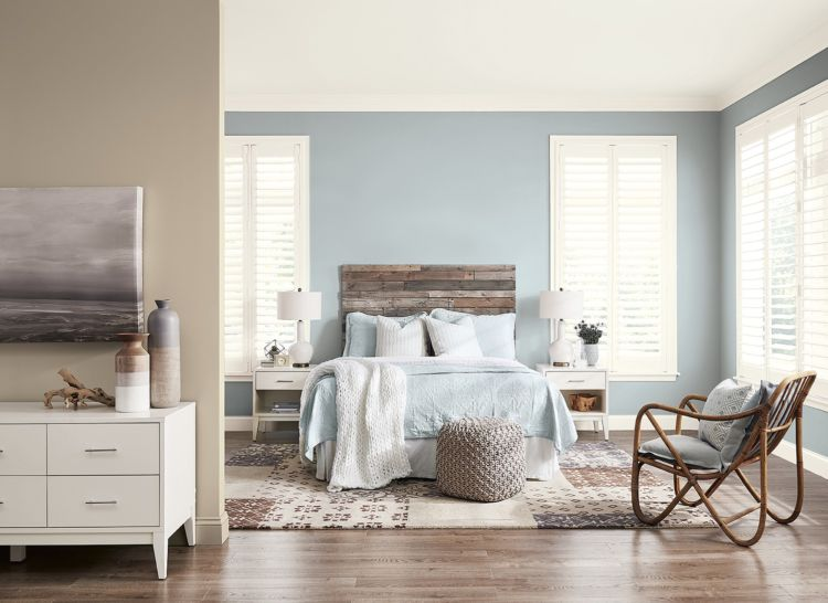 bedroom, light blue, big windows