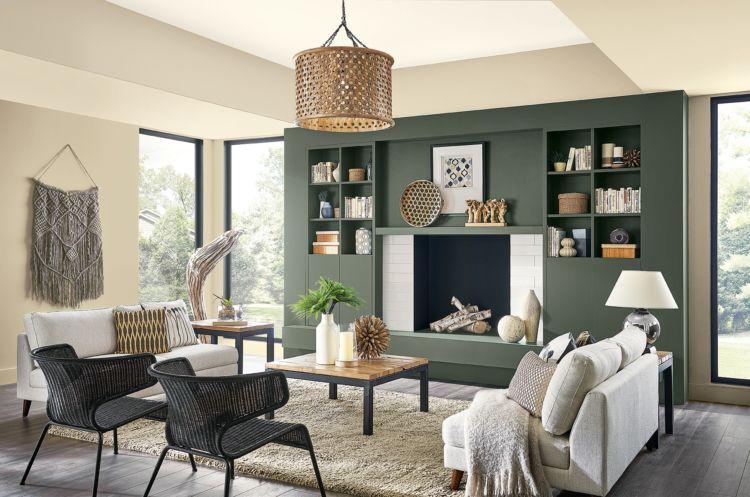 living room, pewter green wall and natural tan walls
