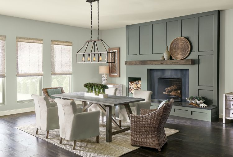 Living room / dining, fireplace, grayed-green