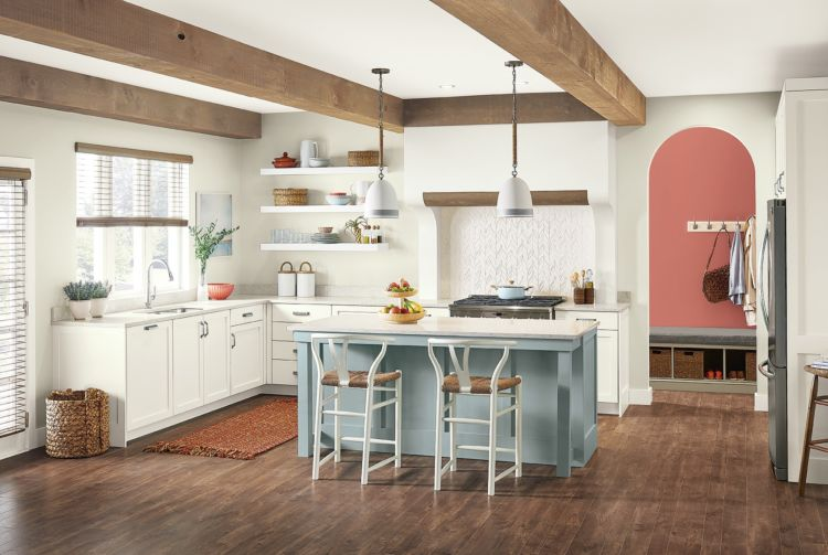Kitchen, wooden bars on ceiling, light colors