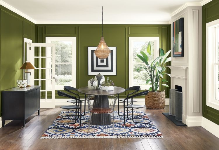 Dining room, modern table and chairs, green walls