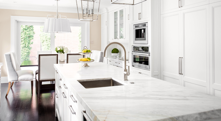 White Island and counters in luxury kitchen