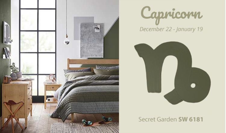 Capricorn - green/grey wall, bed, cabinet