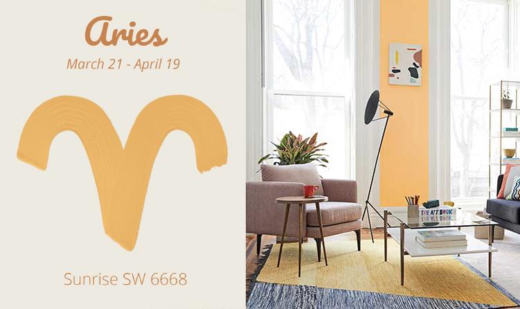 Aries - modern living room, peach walls