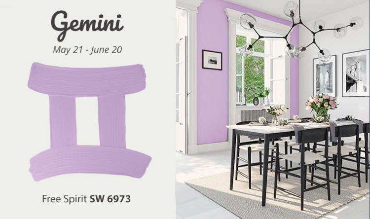 Gemini - table and chairs, light purple wall