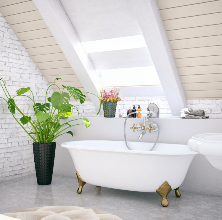 bathroom, old style bathtub, slanting wall with window