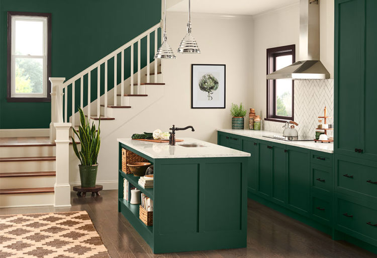 kitchen, olive green cabinets, stairs on the side