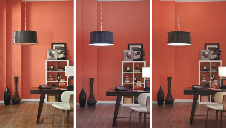 three pictures of red walls living room with different light conditions