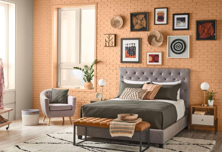 bedroom, caramel brick walls