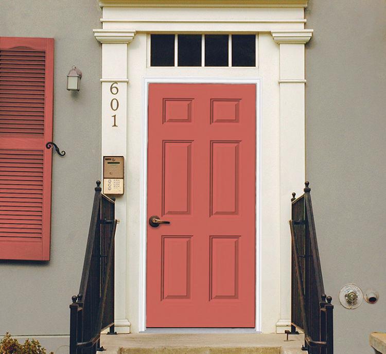 front door in coral color
