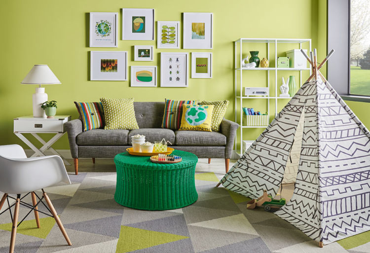 living room, khaki walls, toy indian tent on the floor