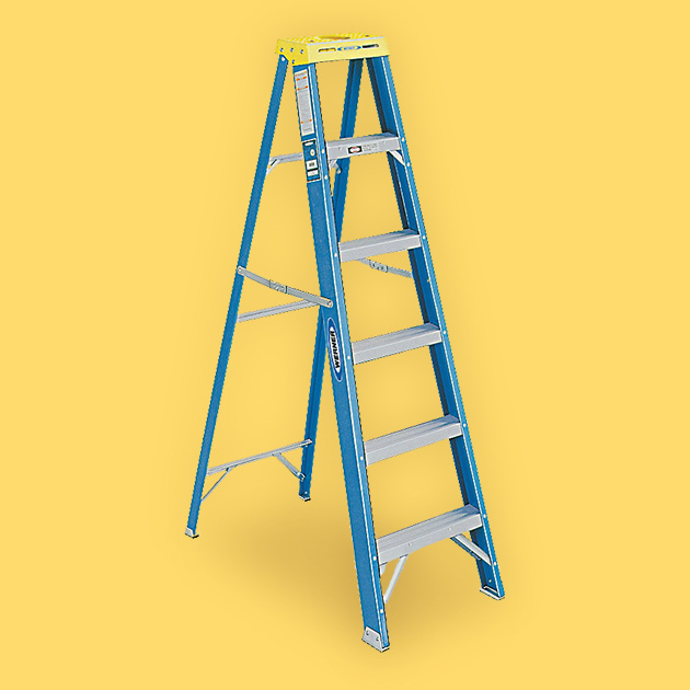 blue ladder on yellow background