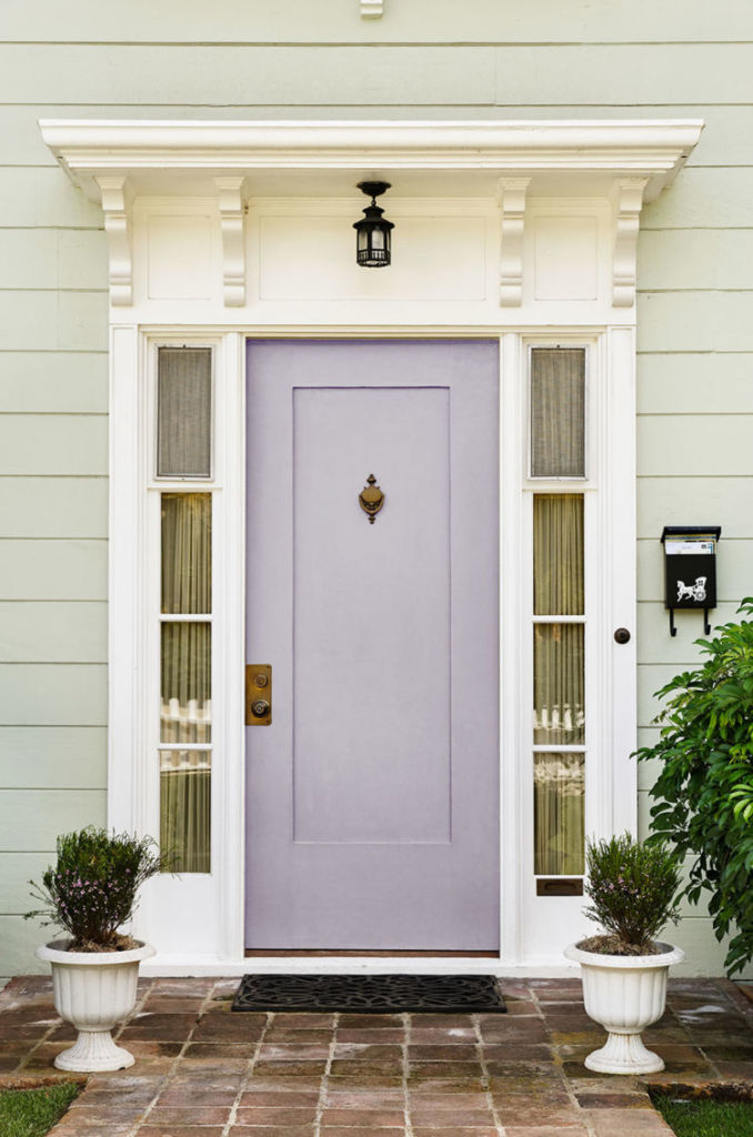 Front door in Ash Violet color