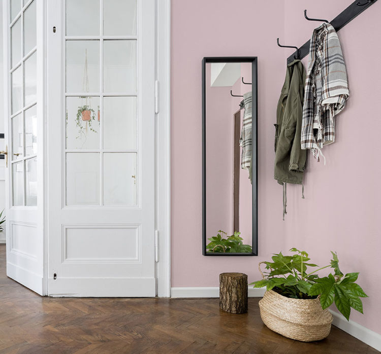 corner of room, french door on the left, mirror and wall in fading rose color