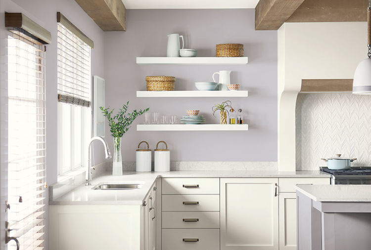 kitchen, white cabinets, silver peony walls