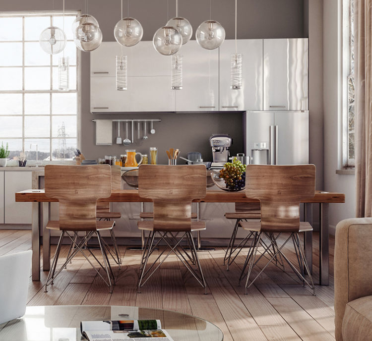 kitchen with wooden dining table and chairs, white modern cabinets, poise taupe walls