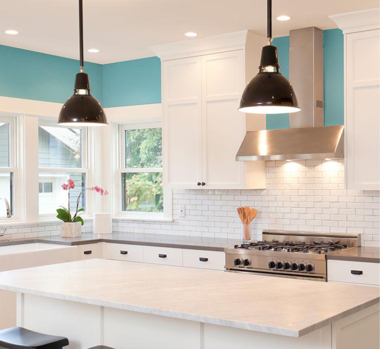 kitchen, white island and cabinets, white brick backslash, aquitaine walls