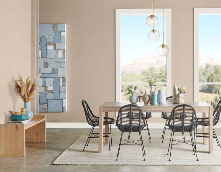 dining room, peach walls with 2 windows