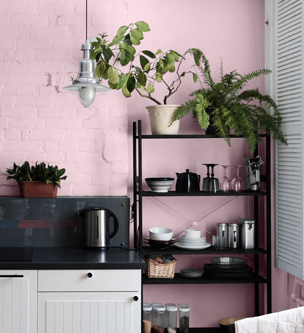 corner of the kitchen, pink wall, old country style