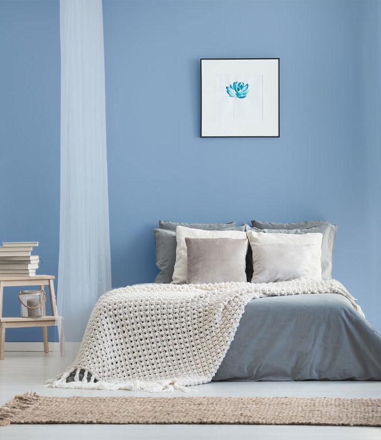 bedroom, entire bed, blue walls