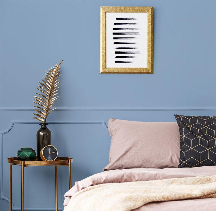 bedroom, half of the bed, blue walls