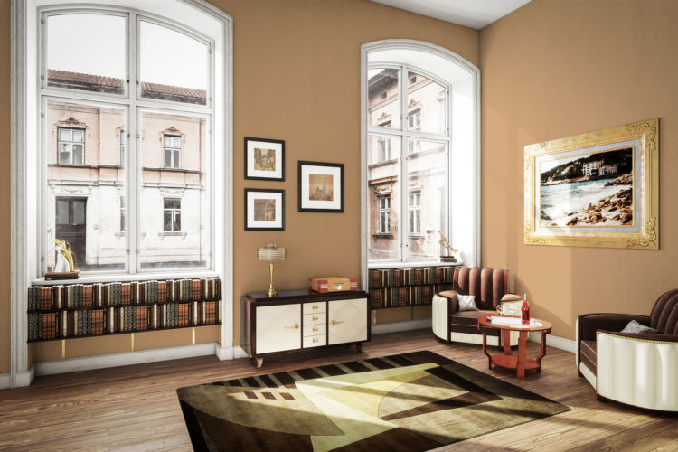 living room, caramel walls, high ceiling, 2 huge windows
