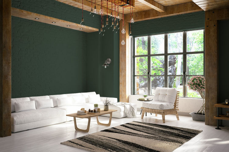living room, white furniture, wooden ceiling and columns, dard hunter green walls, wall size window