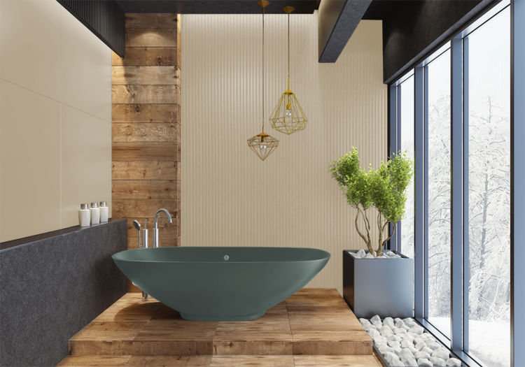 bathroom with sisal/wooden walls, modern simple bathtub