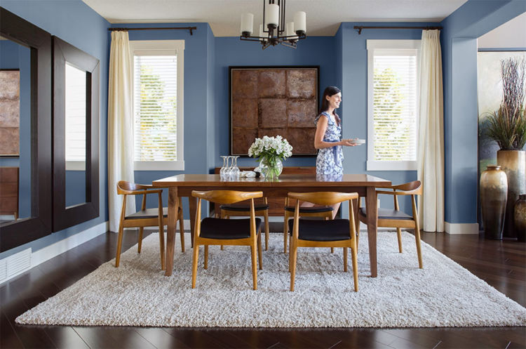 dining-room, light wood table and chairs, light blue walls