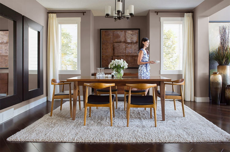 dining-room, light wood table and chairs, ashen walls