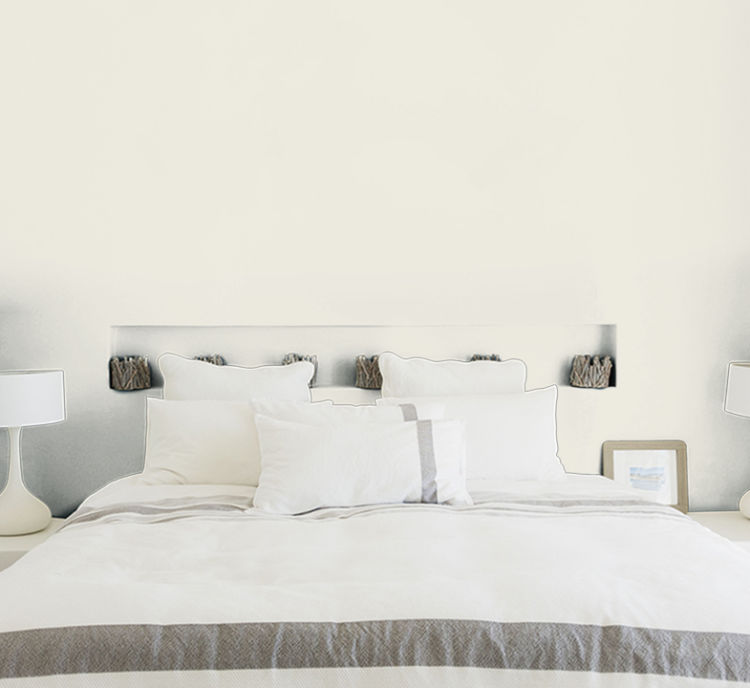 bedroom, bed with white bedding, alabaster wall
