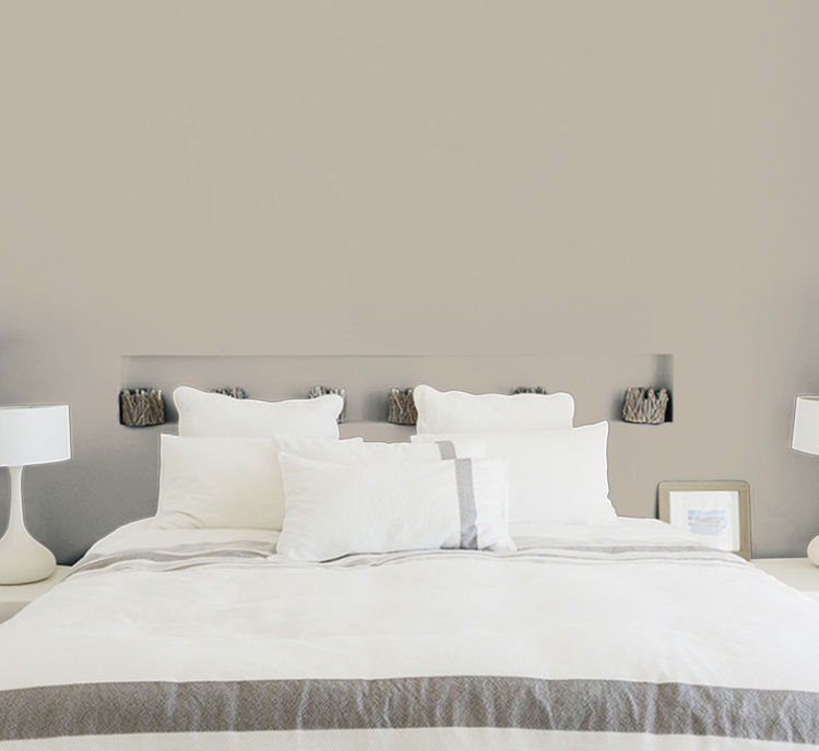 bedroom, bed with white bedding, amazing gray wall