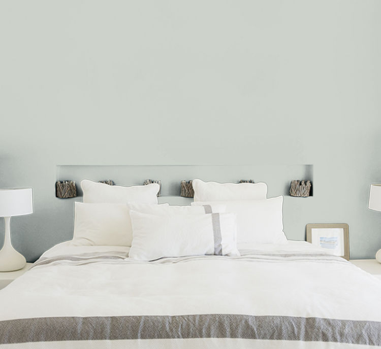 bedroom, bed with white bedding, seasalt color wall