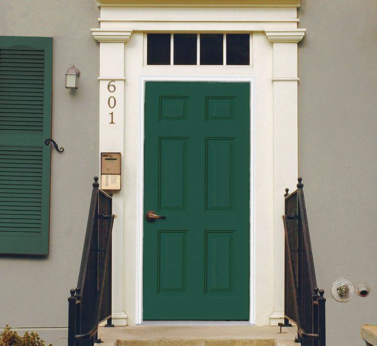 front door in olive green