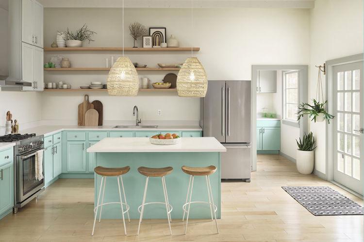 kitchen, light walls, aquamarine cabinets
