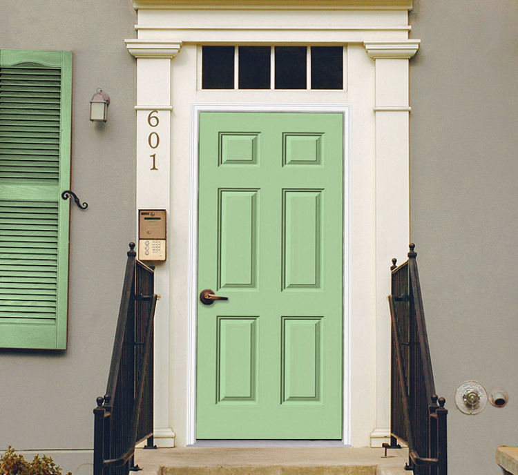 front door in pistachio color