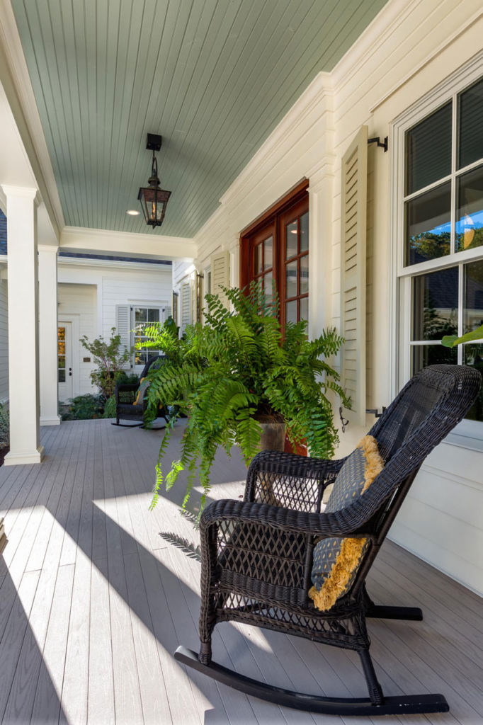 House front porch, flower, rocking chair