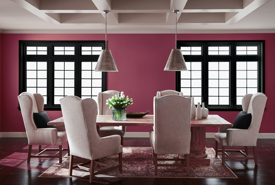 living room, pink walls, Japanese style windows