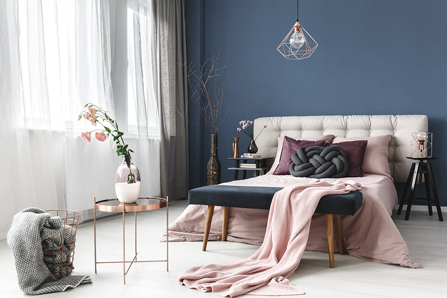 Bedroom, blue wall and large window