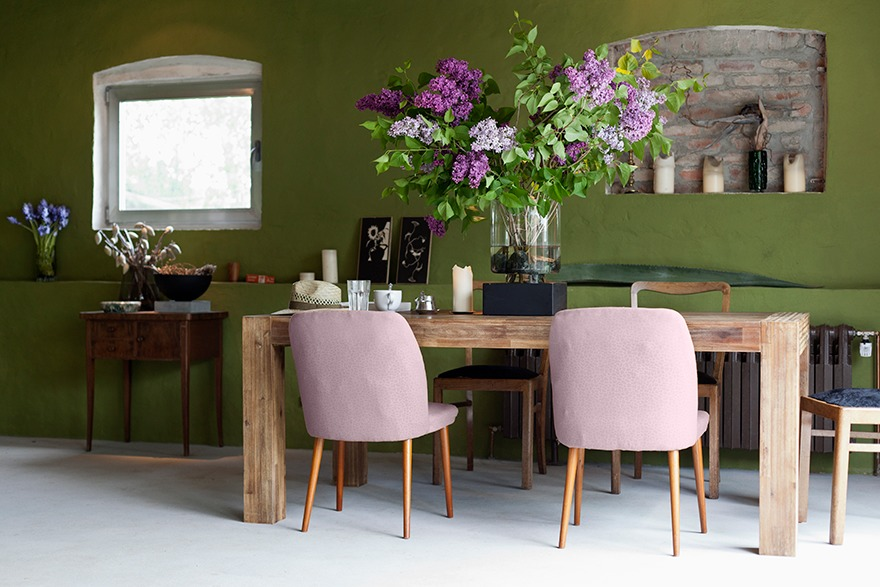 kitchen, green walls, wooden table and chairs