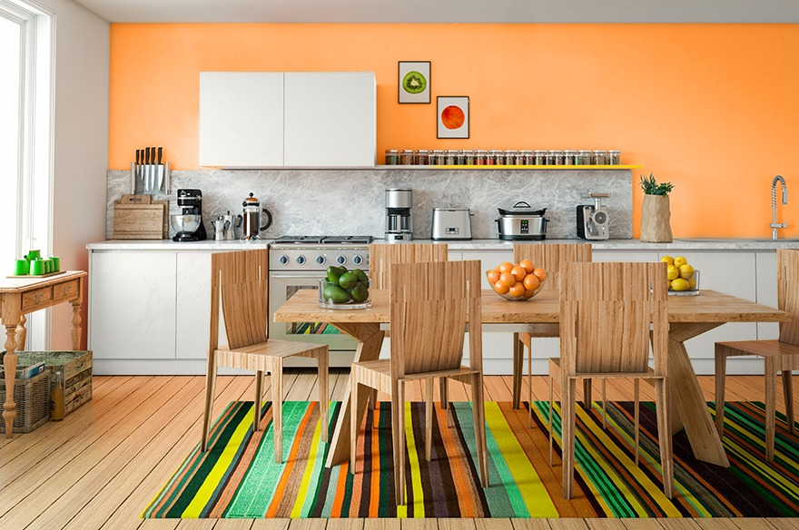 1970s kitchen style, orange walls, table and chairs