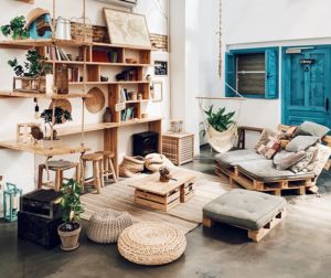 cozy living room, sofa made of wooden palettes