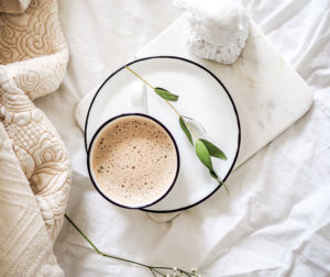 coffee mug with coffee from the top